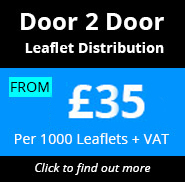 Door to Door Leaflet Distribution only £26.00 per 1000 leaflets + VAT