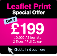 Leaflet Print Offer - £199 for 10,000 A5 leaflets